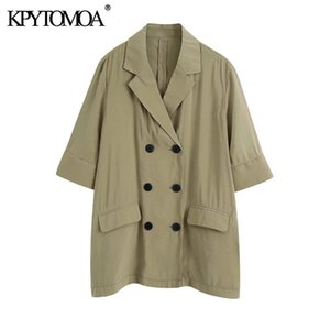 KPYTOMOA Women 2020 Fashion Double Breasted Loose Fitting Blazer Coat Vintage Short Sleeve Pockets Female Outerwear Chic Tops X1214