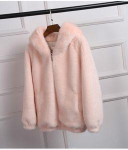 Winter Thick Plush Short Fur Coat Women Loose Faux Fur Hooded Coat Girls Overcoat Fluffy Furry Pink Top Plus Size 3xl Streetwear