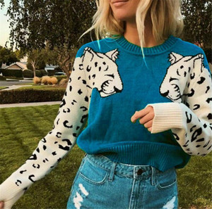 Women's Sweaters Knitwear Long Sleeve Sweater Print Tiger Casual Loose Round Neck Jumper Pullover Autumn Spring Basic Daily 20191