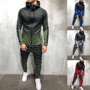 Zogaa homens tracksuit 2 peça conjunto 3d gradient cor casual moletom moletom e calças conjunto sportswear mens corredores conjuntos