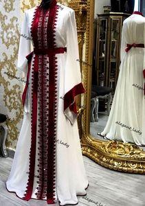 White Burgundy Muslim Kfatan Evening Formal Dresses 2021 Lace Applique Moroccan Caftan Kaftan Dubai Abaya Arabic Prom Dress