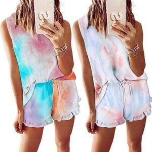 Summer Womens Tie Dye Printed Short Pajamas Set Sleeveless Set Casual Loungewear Nightwear Sleepwear women clothing#0504G301