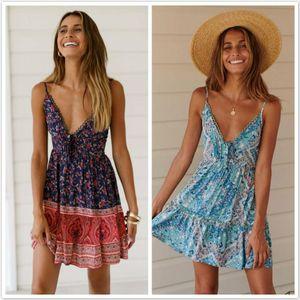 Womens Boho Floral V Neck Sleeveless Backless Summer Party Evening Beach Short Mini Dress Sundress 2019 New