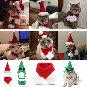 Christmas Pet Supplies Cão Christmas Chapéus Cachecol Set Cat and Dog Pequeno Pet Decorações De Natal XD24254