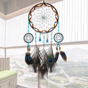 Hand Woven Dream Catcher with Circular Ring Peacock Feather Wind Chimes Dreamcatcher Hanging Pendants Decorations Wall Gift Home Décor
