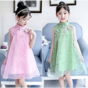2019 new summer dress children cheongsam vintage dress national dress Z1127