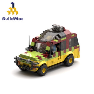 Buildmoc Jurassic-Park Ford ExplorerSoldier Building Blocks German Willis Jeep-antiaircraft gun Bricks Toy for Children LJ200928