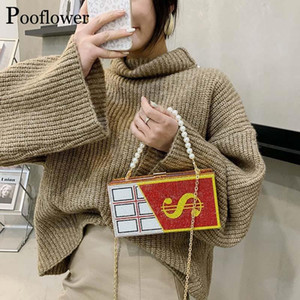 Pooflower Lady Wedding Party Diamond Money Purse Pearl Beaded Chains Mini Shoulder Bag Chocolate Crystal Evening Hand Bag ZH307