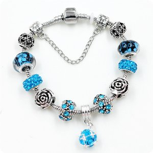 Fashion Couple Jewelry DIY Glasses Bead Rose Charm Bracelet Blue Crystal Rhinestone Ball Pendant Bracelet Bangle