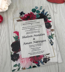 Acrylic Invites,Floral Acrylic Wedding Invitation, Pastel Wedding Invite,Peach,Blush,Burgundy,Plum,Floral invitations