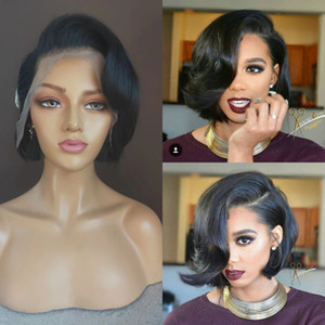 Pixie Cut Wigs Human Hair Short Pixie Wigs Natural Looking Bob Cut Lace Frontal Wigs With Bangs For Women Black Color