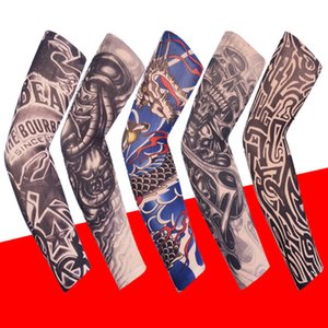 2020 Fashion Elastic Tattoo Sleeves Riding UV Care Cool Printed Sun-proof Arm Protection Glove Fake Temporary Tattoo for Men Women