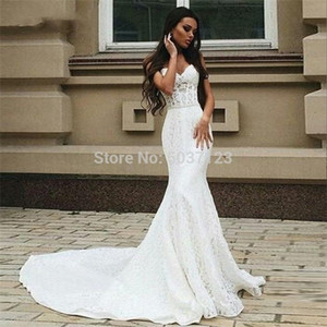 Full Mermaid Wedding Dresses 2021 Sexy Beaded Sash Pearls Sweetheart Lace Up Plus Size Bridal Dress Vestidos De Noiva Q1113