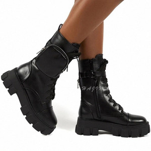 2020 Fashion Women Boots Motorcycle Platform Shoes Women High Boots With Heels Martin Leather Punk Belt Buckle Botas Mujer #dh8p