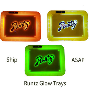 Backwoods Glow Tray Runtz Led Rolling Tray Cookies Led Glow Trays Rechargeable Dry Herb Packaging Holder Alien Labs E cigarettes Instock