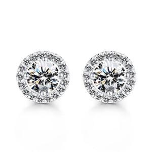 أقراط زفاف كريستال للنساء البوهيمي جميل جولة الماس حلق السيدات الفتيات الكامل PS0031