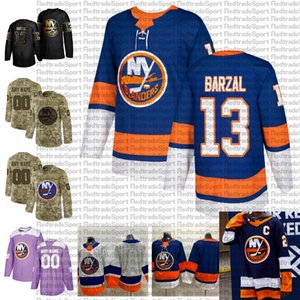 2021 Customize #13 Mathew Barzal New York Islanders Jerseys Golden Edition Camo Veterans Day Fights Cancer Custom Stitched Hockey Jerseys