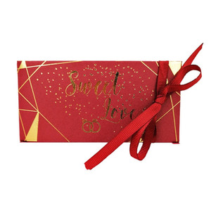 Chocolates Presente Envoltório Banhado Ouro Celebração Celebração Triângulos Caixa de Doces De Seda Fita Presentes Envoltório Moda Venda Quente 0 33cy M2