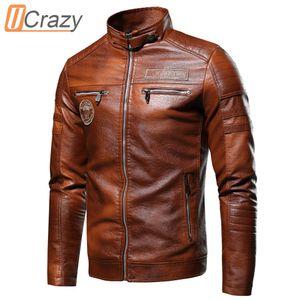 UCRAZY 2020 Sonbahar Yeni Marka Rahat Motor Sıkıntılı Ceket Kaban Kış Vintage Dış Giyim Faux Deri Ceketler Erkekler