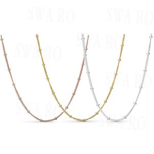 Classic 925 Sterling Silver Shining Beaded Necklace Chain Series Original High Quality 1: 1 Fashion Women Accessories