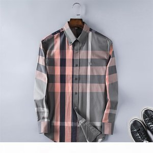 Brand Men's Business Casual shirt mens long sleeve striped slim fit camisa masculina social male T-shirts new fashion man checked shirt