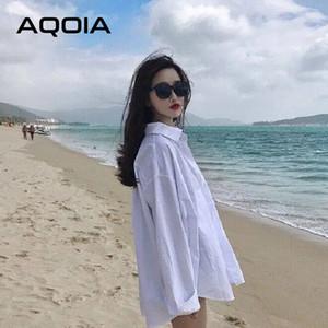 Aqoia Streetwear Uzun Kollu Şifon Artı Boyutu Siyah Beyaz Kadın Gömlek Düğme Yukarı Gevşek Bayanlar Bluzlar 2020 Kadın Uzun