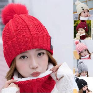 40# Women Ladies Skullies Beanie Hat Hedging Cap Solid Ski Cap Knitted Warm Winter Hairball Plus Velvet Knitted Beanie Cap+scarf
