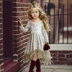Flower Girl Dress Velvet Tassel Long Sleeve Kids Princess Dresses Baby Party Wedding Pageant Dress Lovely Christmas Dress