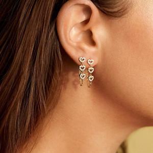 Fashion Love Heart Charm Earring Boho Rhinestone Heart Pendant Chain Earrings For Women Lady Ear Stud Jewelry