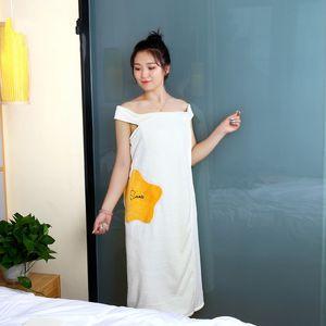 Kadınlar Giyilebilir Banyo Havlusu Elbise Saf Pamuk Bornoz Spa Jartiyer Yumuşak Wrap Etek Havlu Süper Emici Ev Tekstili 60 O2