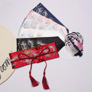 2020 New Japanese Kimono Japan 5 Color Tassel Obi Embroidery Flowers Girdle Vintage Wide Belt Women Fashion Tide Lace Up Wild