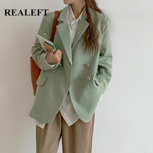 REALEFT New 2020 Elegant Double Breasted Women's Blazer Solid Long Sleeve Turn Down Collar Autumn Winter Loose Jacket Female