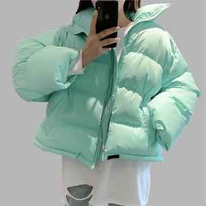Woman Parka Bread Coats Warm Solid Green Pink Short Jacket Korean Style Loose Thick Outercoats Puffer Elegant Tops Winter 201214