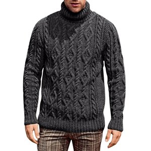 4 Color Men New Sweater Solid Color Long Sleeve Turleneck Winter Knitted Blouse Casual Plus Size Knitwear Pullover J1204