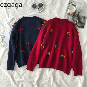 Ezgaga Red Cherry Sweater Women Sweet 2020 Winter New Thick Warm Outwear O-Neck Embroidery Pullover Loose Tops Fashion Jumper