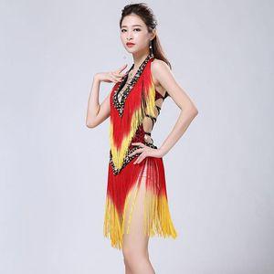 Woman Sexy Latin Dance Dress Deep v-Neck Leopard Print Intensive Gradient Tassel Straps Beauty Back mini Dress