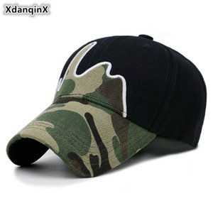 XdanqinX Camouflage Hat Men's Cotton Baseball Cap Adjustable Size Camouflage Tongue Caps 2020 New Women Fashion Brand Sports Cap F1208