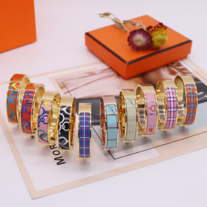 المينا الملونة امرأة سوار الأزياء أساور للرجل المرأة مجوهرات سوار مجوهرات 10 لون اختياري مع مربع