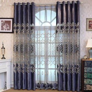 European Embroidery Polyester Semi-shading Curtains for Living Dining Room Bedroom.1
