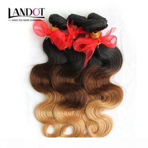 3Pcs Lot 8-30Inch Three Toned Ombre Russian Human Hair Extensions Body Wave Wavy 1B-4-27 Black Brown Blonde Ombre Virgin Hair Weave Bundles