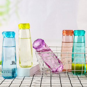 High Quality Fashion 19.5*6.3cm 420ml Glass Plastic Diamond Water Tea Juice Cup Bottle