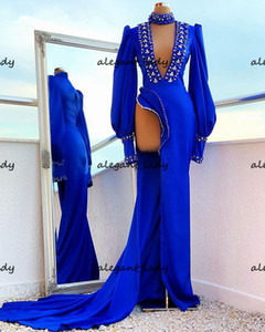 Luxury Long Evening Dress Sexy High Slit Long Sleeves Royal Blue Crystals African Women Party Night Clebrity Formal prom Gowns