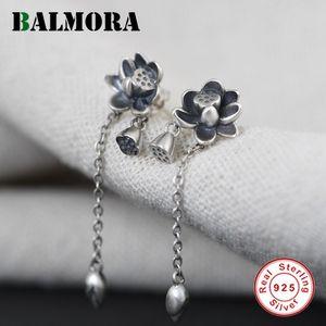 Balmora Original 100% Real 925 Sterling Silver Lotus Pendiente para las mujeres Vintage Larga Tassel Dangler Ear Stud Eardrop Gift Z1128