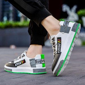2020 Four Seasons New Leather Casual Mens Shoes Low -Top Korean Fashion Individualized And Popular Sports Platform Color Matching Sho