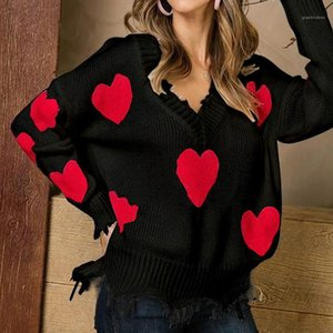 Designer Suéteres Suelto Pullover Irregular Tassel Paneled Womens Suéteres Casual Mujeres Christmas Sweaters Love Imprimir Mujer