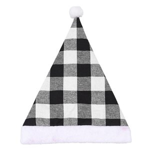 Plaid Hat for Adults Children Merry Ornaments Home Christmas Decoration 2020 Cristmas Party Gift DHC1570