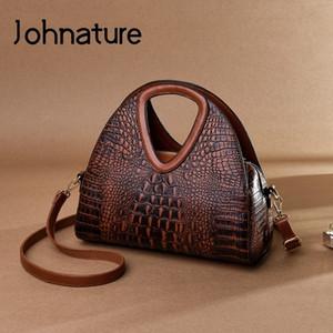 Johnature Vintage Frauen Tasche 2020 Neue Mode Alligator Luxus Handtasche Große Kapazität Weiche Leder Dame Schulter Messenger Bags C0121