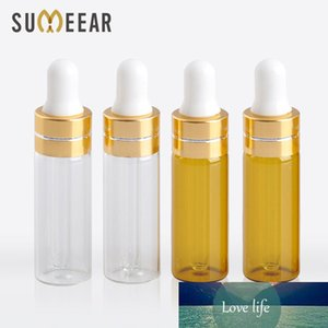 100 Piece Lot 5ml Transparent Brown Color Essential Oil Bottles Portable Amber Glass Dropper Bottle Empty Cosmetic Containers