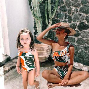 Family Matching One-Piece Suits Toddler Infant Baby Girls Watermelon Swimsuit 3D Flower Print Swimwear Swimming Bikini1