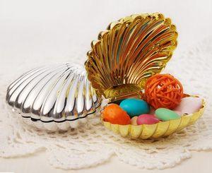 Schöne Silbergold-Shell-Hochzeits-Candy Box Favors Hochzeit Weihnachtsgeschenke Party Boxes Kostenloser Versand Inhaber Hochzeitsbedarf Baby-Dusche